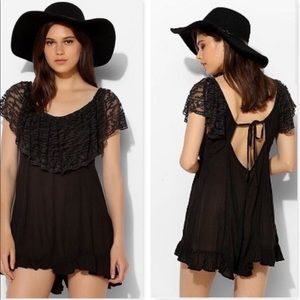 OU Kimchi Blue Black Lace Off the Shoulder Romper